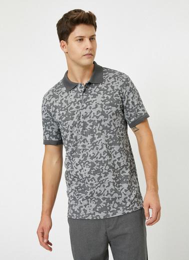Koton Polo Yaka Kamuflaj Desenli Muline Kumas Slim Fit T-Shirt Siyah